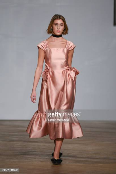 A model walks the runway during Miro fashion show as part of the Tbilisi Fashion Week on October 27 2017 in Tbilisi Georgia