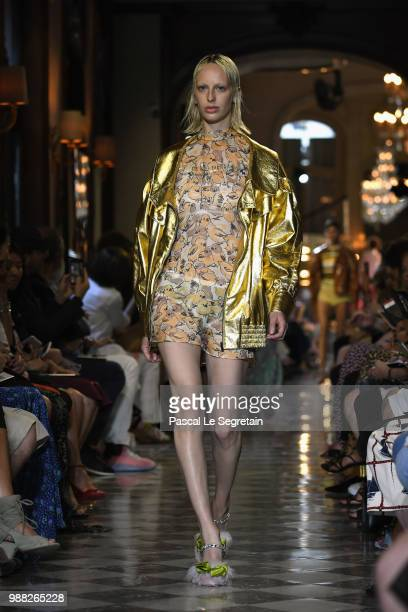 A model walks the runway during Miu Miu 2019 Cruise Collection Show at Hotel Regina on June 30 2018 in Paris France