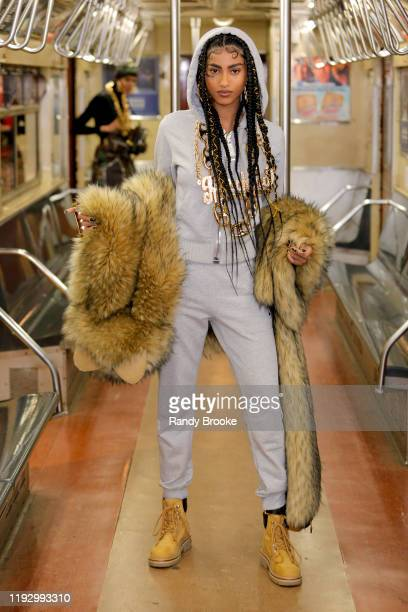 A model walks the runway during Moschino Prefall 2020 Runway Show at New York Transit Museum on December 09 2019 in Brooklyn City