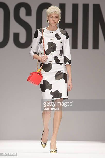 A model walks the runway during Moschino show as part of Milan Fashion Week Womenswear Autumn/Winter 2014 on February 20 2014 in Milan Italy