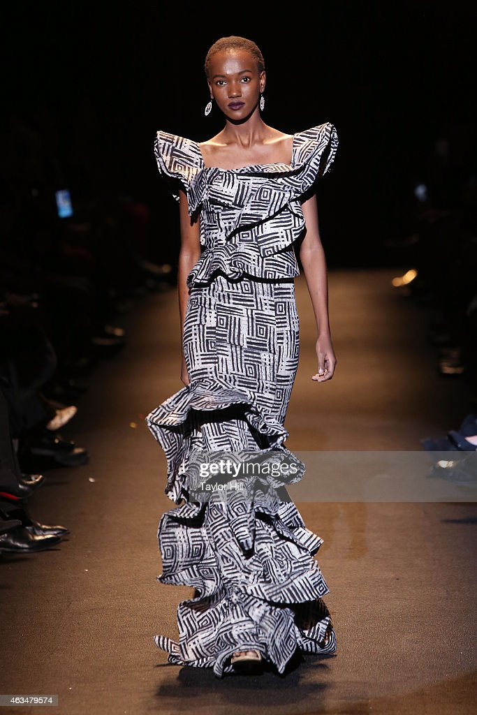 A model walks the runway during Naomi Campbell's Fashion For Relief 2015 fall fashion show at The Theater at Lincoln Center on February 14, 2015 in New York City.