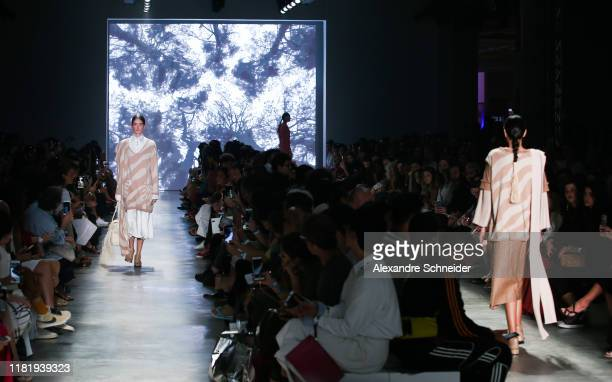 A model walks the runway during Neriage show during SPFW N48 Day 4 at Pavilhao das Culturas Brasileiras on October 18 2019 in Sao Paulo Brazil