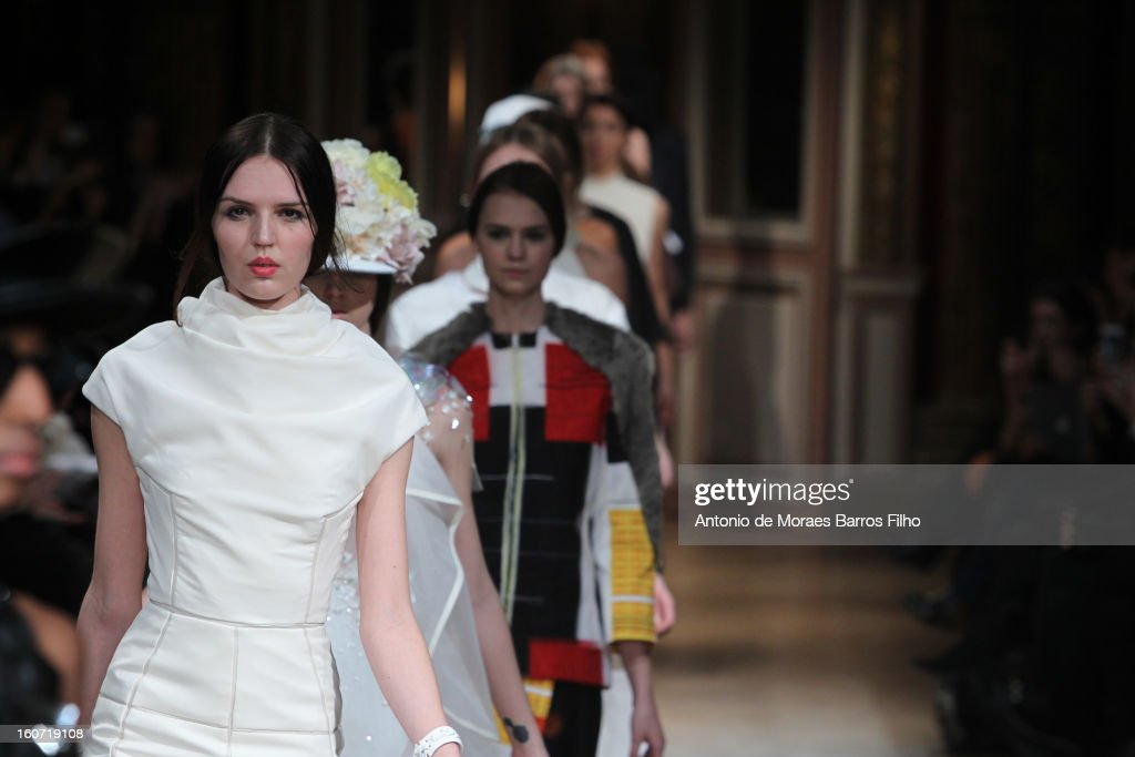 A model walks the runway during New Stylists Podium 4th Edition Fashion Show at Hotel Westin on February 4, 2013 in Paris, France.
