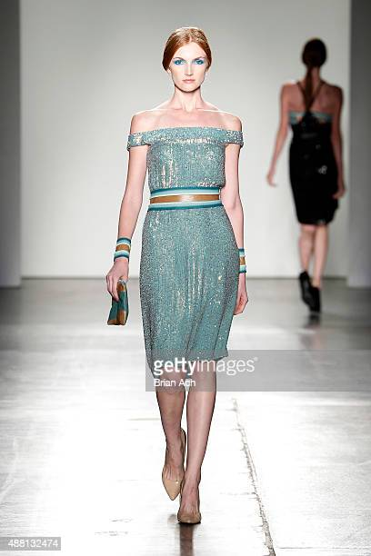 A model walks the runway during Nolcha Shows During New York Fashion Week Spring/Summer 2016 Collections Anya Liesnik at Pier 59 on September 13 2015...