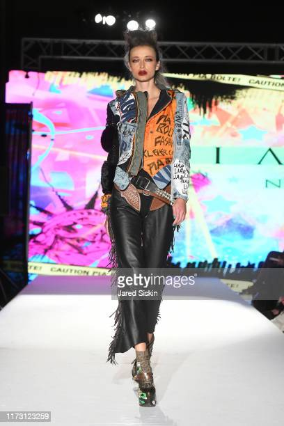 A model walks the runway during NYFW Powered by The Society at Broad Street Ballroom on September 07 2019 in New York City