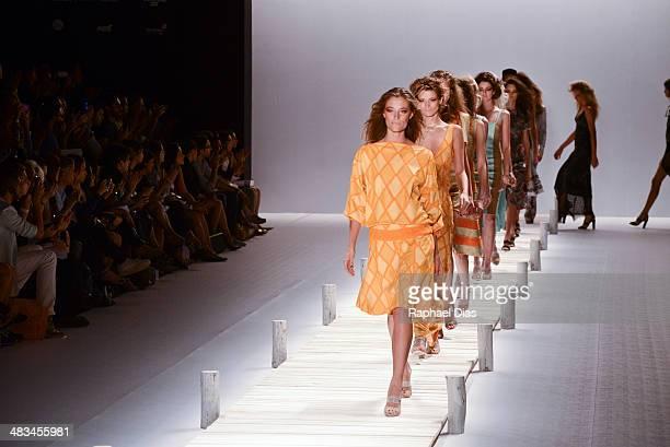 Model walks the runway during Patricia Vieira show at Fashion Rio Summer 2014/2015 at Marina da Gloria on April 8 2014 in Rio de Janeiro Brazil