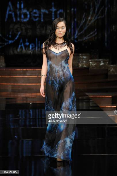 A model walks the runway during Pineda Covalin at New York Fashion Week Art Hearts Fashion NYFW FW/17 at The Angel Orensanz Foundation on February 10...