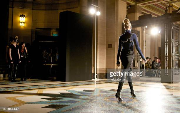 A model walks the runway during rehearals at the Ashley Isham show during London Fashion Week Fall/Winter 2013/14 at Freemasons Hall on February 16...