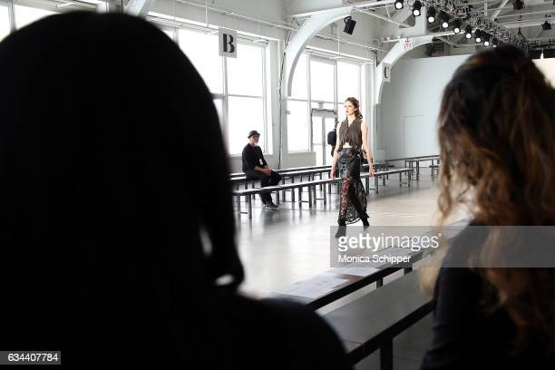 A model walks the runway during rehearsal before the Ane Amour fashion show during New York Fashion Week at Pier 59 on February 9 2017 in New York...