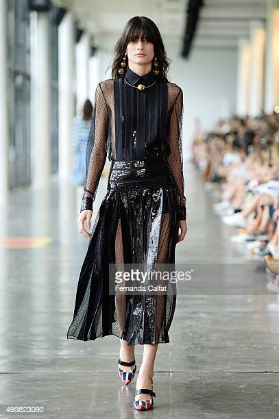 A model walks the runway during Reinaldo Lourenco fashion show during Sao Paulo Fashion Week Winter 2016 on October 21 2015 in Sao Paulo Brazil
