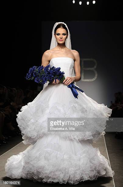 A model walks the runway during Renato Balestra S/S 2013 Italian Haute Couture colletion fashion show as part of AltaRoma AltaModa Fashion Week at...