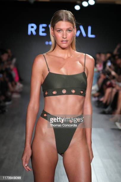 A model walks the runway during Revival Swimwear Runway Show Hosted by Klarna STYLE360 NYFW on September 11 2019 in New York City