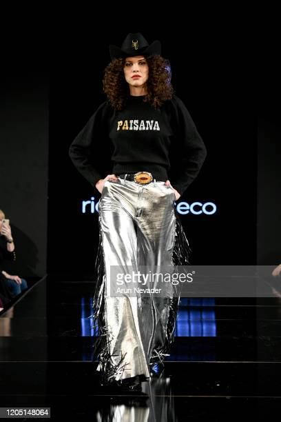 A model walks the runway during Ricardo Seco At New York Fashion Week Powered By Art Hearts Fashion NYFW 2020 at The Angel Orensanz Foundation on...