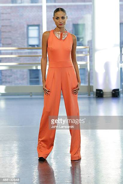 Model walks the runway during Romas By Linda Rowe Thomas Spring 2016 New York Fashion Week at Alvin Ailey American Dance Theater on September 13 2015...