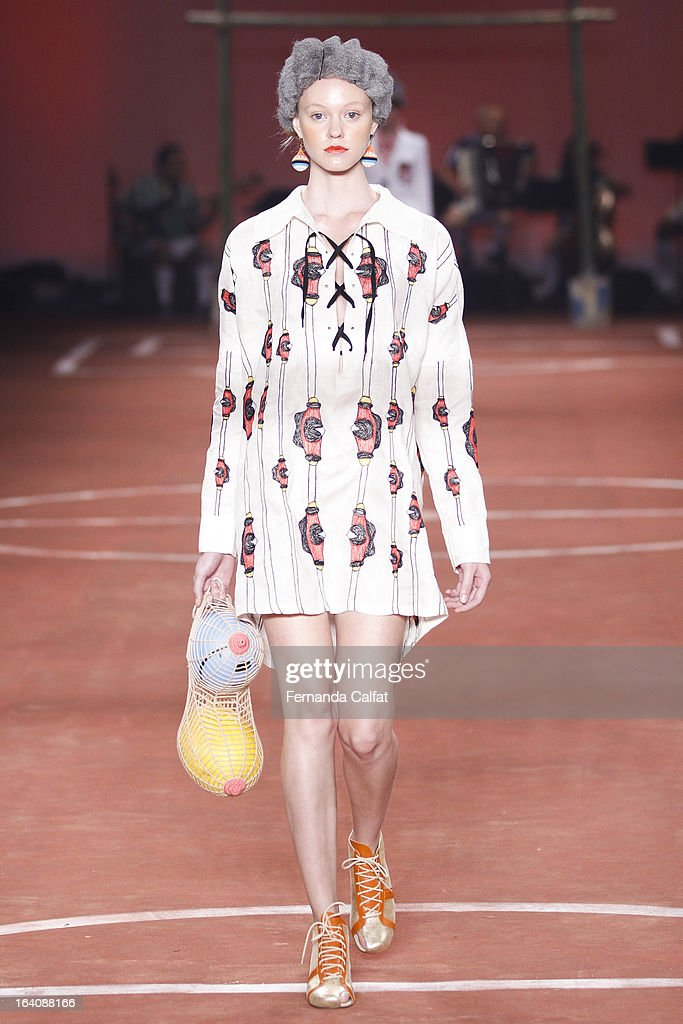 A model walks the runway during Ronaldo Fraga show as part of Sao Paulo Fashion Week Summer 2013/2014 on March 19, 2013 in Sao Paulo, Brazil.
