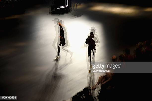 Model walks the runway during Saint Laurent at the Palladium on February 10 2016 in Los Angeles California for the Saint Laurent Los Angeles show