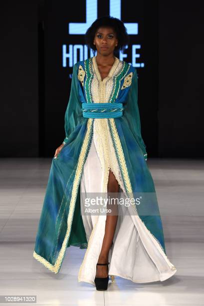 A model walks the runway during Society Fashion Week Houda El Fechka Eddiouane at The Roosevelt Hotel on September 7 2018 in New York City
