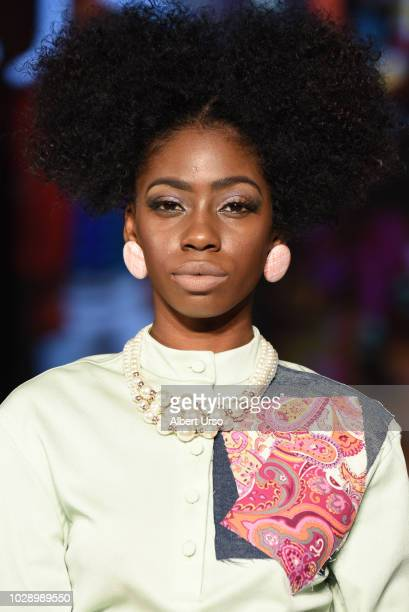 A model walks the runway during Society Fashion Week Just10H at The Roosevelt Hotel on September 7 2018 in New York City