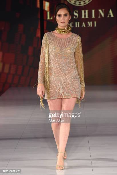 A model walks the runway during Society Fashion Week Lenshina Nchami at The Roosevelt Hotel on September 8 2018 in New York City
