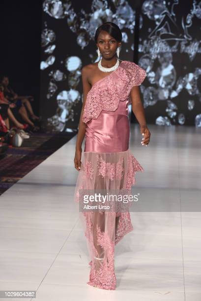 A model walks the runway during Society Fashion Week Mara Skye at The Roosevelt Hotel on September 8 2018 in New York City