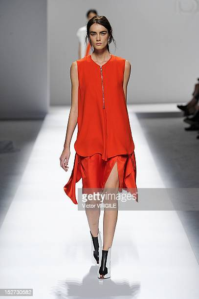 Model walks the runway during Sportmax fashion show as part of Milan Fashion Week Womenswear S/S 2013 on September 21, 2012 in Milan, Italy.