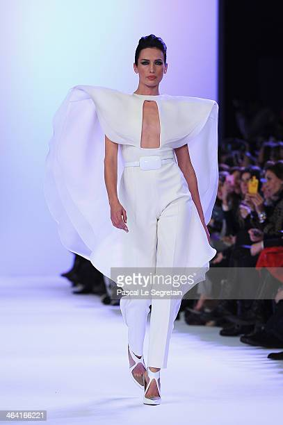 A model walks the runway during Stephane Rolland show as part of Paris Fashion Week Haute Couture Spring/Summer 2014 on January 21 2014 in Paris...