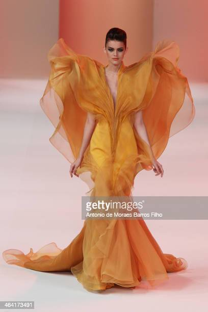Model walks the runway during Stephane Rolland show as part of Paris Fashion Week Haute Couture Spring/Summer 2014 on January 21, 2014 in Paris,...