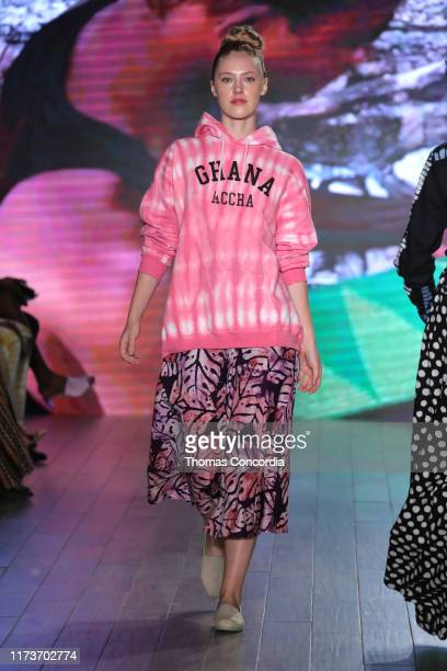 A model walks the runway during Studio 189 By Rosario Dawson And Abrima Erwiah Runway Show at Klarna STYLE360 NYFW on September 10 2019 in New York...