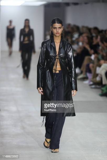 A model walks the runway during Supriya Lele Spring/Summer 2020 collection show during London Fashion Weak in British Fashion Council show space in...