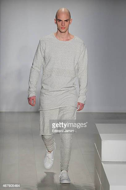 A model walks the runway during the 11 by Parloque fashion show at David Pecaut Square on March 27 2015 in Toronto Canada