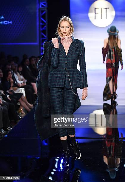 A model walks the runway during the 2016 FIT Future Of Fashion Runway Show on May 05 2016 in New York New York