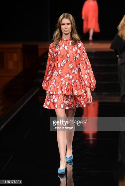 A model walks the runway during the 2019 Symphony Fashion Show at Schermerhorn Symphony Center on May 14 2019 in Nashville Tennessee