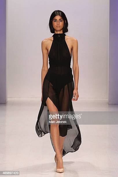 A model walks the runway during the 3 Up show wearing Black By Geng at MercedesBenz Fashion Week Australia 2015 at Carriageworks on April 16 2015 in...