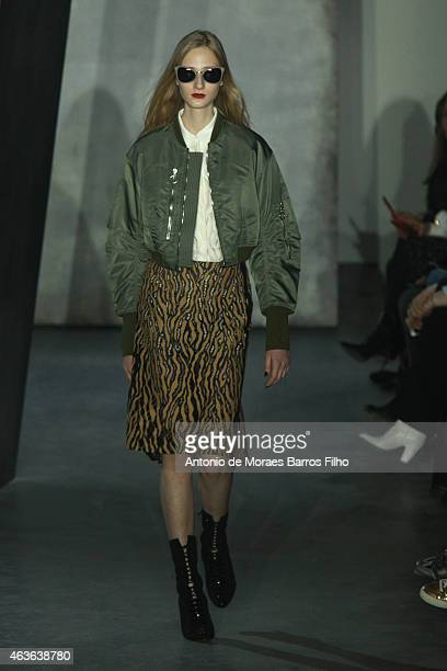 A model walks the runway during the 31 Phillip Lim fall 2015 fashion show at The Theater at Lincoln Center on February 16 2015 in New York City