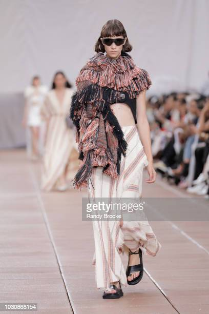 Model walks the runway during the 3.1 Phillip Lim fashion show Spring 2019 in September 2018 - New York Fashion Week at New Design High School on...