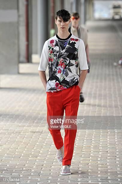 A model walks the runway during the 31 Phillip Lim Menswear Spring/Summer 2014 show at Cite de la Mode et du Design as part of the Paris Fashion Week...