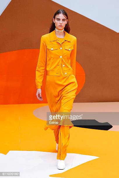A model walks the runway during the Aalto designed by Tuomas Merikoski show as part of the Paris Fashion Week Womenswear Spring/Summer 2017 on...