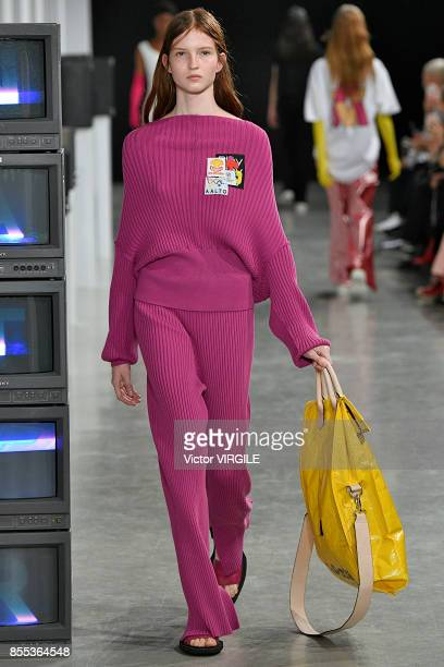 A model walks the runway during the Aalto Ready to Wear Spring/Summer 2018 fashion show as part of Paris Fashion Week Womenswear Spring/Summer 2018...