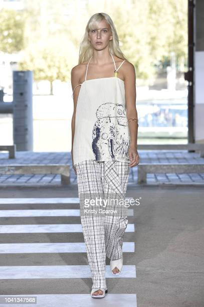 A model walks the runway during the Aalto show as part of Paris Fashion Week Womenswear Spring/Summer 2019 on September 26 2018 in Paris France
