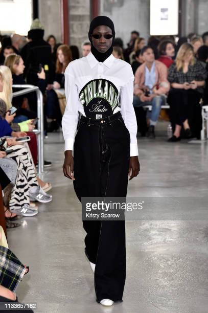 A model walks the runway during the Aalto show as part of Paris Fashion Week Womenswear Fall/Winter 2019/2020 on February 27 2019 in Paris France
