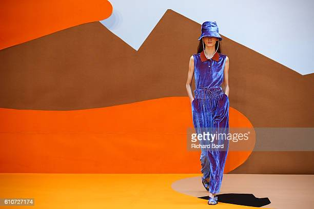 A model walks the runway during the Aalto show as part of the Paris Fashion Week Womenswear Spring/Summer 2017 on September 27 2016 in Paris France