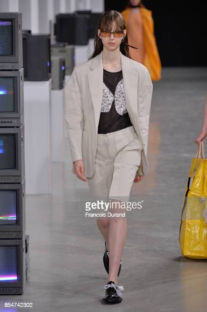 A model walks the runway during the Aalto show as part of the Paris Fashion Week Womenswear Spring/Summer 2018 on September 27 2017 in Paris France