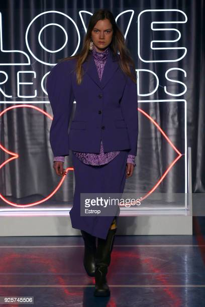 A model walks the runway during the Aalto show as part of the Paris Fashion Week Womenswear Fall/Winter 2018/2019 on February 28 2018 in Paris France