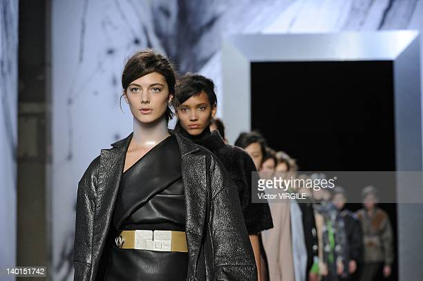 A model walks the runway during the Acne Ready to Wear Fall/Winter 20122013 show as part of the London Fashion Week on February 19 2012 in London...
