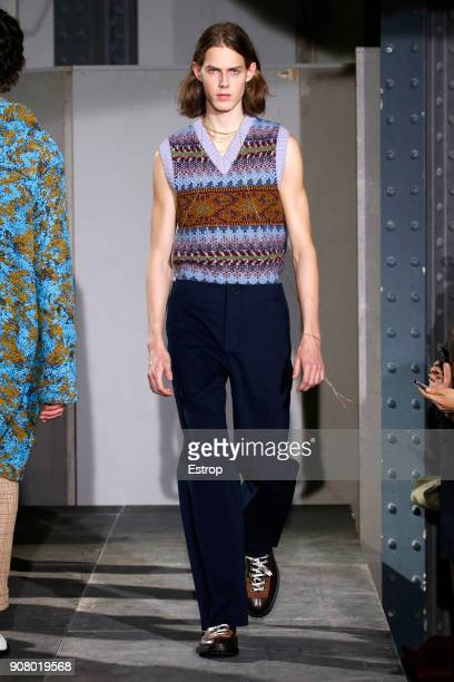 A model walks the runway during the Acne Studios Menswear Fall/Winter 20182019 show as part of Paris Fashion Week on January 19 2018 in Paris France