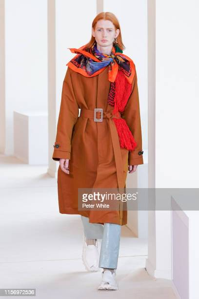 Model walks the runway during the Acne Studios Menswear Spring Summer 2020 show as part of Paris Fashion Week At Maison De La Radio on June 19, 2019...