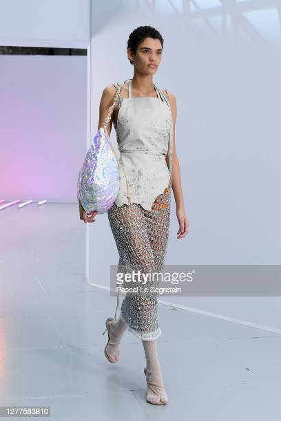 Model walks the runway during the Acne Studios Womenswear Spring/Summer 2021 show as part of Paris Fashion Week on September 30, 2020 in Paris,...