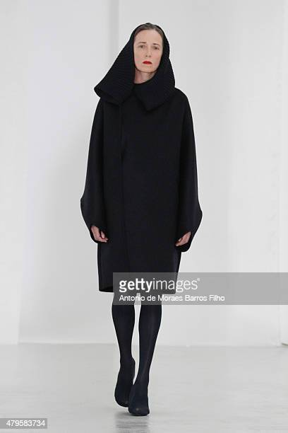 A model walks the runway during the Adeline Andre show as part of Paris Fashion Week Haute Couture Fall/Winter 2015/2016 on July 5 2015 in Paris...