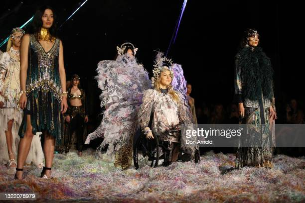 Model walks the runway during the Afterpay's Future of Fashion show during Afterpay Australian Fashion Week 2021 Resort '22 Collections at...