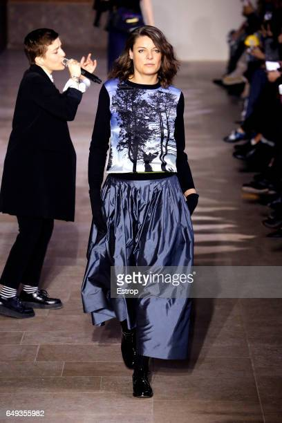 A model walks the runway during the Agnes B designed by Agnes Troublé show as part of the Paris Fashion Week Womenswear Fall/Winter 2017/2018 on...